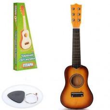 Детская деревянная гитара с железными струнами (+запасная струна, медиатор), Orange арт. 1369