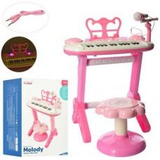 Детский синтезатор (пианино) со стульчиком, микрофоном (+запись мелодии), розового цвета арт. 3232