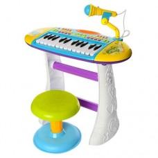 Детский Игровой Музыкальный Синтезатор-Пианино Юный виртуоз на ножках, стульчик и микрофон,  СИНИЙ арт. 383