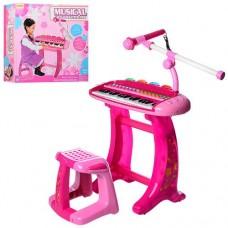 Детское электропианино синтезатор на 36 клавиш с микрофоном, функцией записи, световыми эффектами и стульчиком