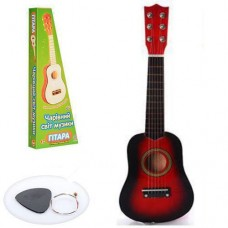 Детская деревянная гитара с железными струнами (+запасная струна, медиатор), Red арт. 1369