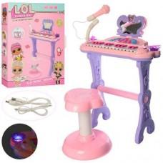 Детский синтезатор - пианино LOL на ножках со стульчиком, микрофоном, со свет эффектами, 25 клавиш арт. 901-645