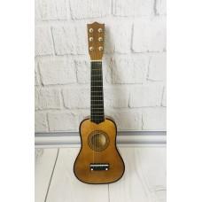Детская игровая деревянная Гитара 6-ти струнная с медиатором и запасной металлической струной, 52 см, Brown