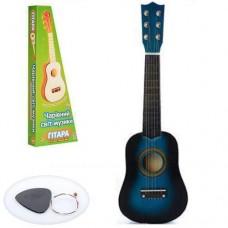 Детская деревянная гитара с железными струнами (+запасная струна, медиатор), Blue арт. 1369