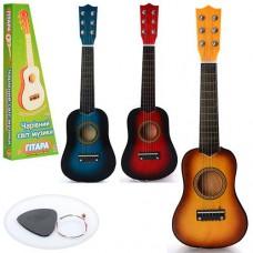 Детская деревянная гитара с железными струнами (+запасная струна, медиатор), 3 цвета арт. М 1369