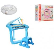 Детский синтезатор - рояль на ножках со стульчиком, микрофоном, MP3, USB входом, 37 клавиш, голубой арт. 375