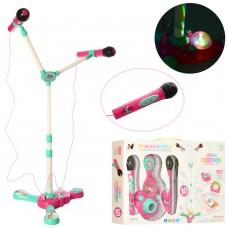 Детская стойка с двумя детскими микрофонами и цветомузыкой, высота 104 см арт. 016-2