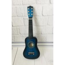 Детская игровая деревянная Гитара 6-ти струнная с медиатором и запасной металлической струной, 52 см, Blue