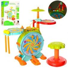 Детская Игровая Барабанная Установка со стульчиком, 4 барабана, палочки, световые эффекты, микрофон арт. 666