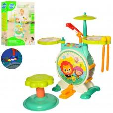 Детская Игровая Барабанная Установка со световыми эффектами, микрофоном на держателе, палочками арт. 3130