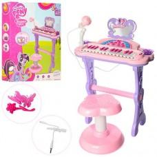 Детский синтезатор - пианино My Little Pony на ножках со стульчиком, микрофоном, со свет эффектами арт. 901-613