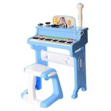 Детский синтезатор (пианино) со стульчиком, микрофоном и наушниками, голубого цвета арт. 8818-206CD