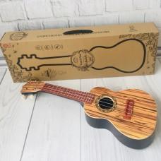 Детский игровой музыкальный инструмент Гитара 4-х струнная с медиатором и ремнем, 60 см, светло-коричневая