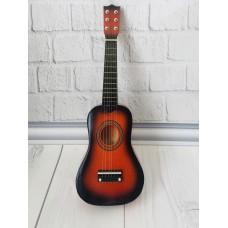 Детская игровая деревянная Гитара 6-ти струнная с медиатором и запасной металлической струной, 52 см, Orange
