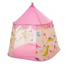 Детская Игровая Палатка Шатер Динозавры для дома и улицы, 2 входа с сеткой, 117х94х130 см, розовая арт. 6094