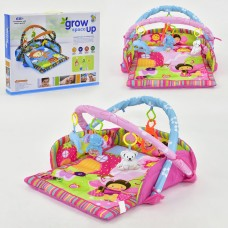 Детский Развивающий Коврик для малышей мягкий с 2 дугами, подвесными игрушками, зеркальцем, арт. D 107