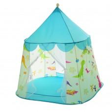 Детская Игровая Палатка Шатер Динозавры для дома и улицы, 2 входа с сеткой, 117х94х130 см, голубая арт. 6094