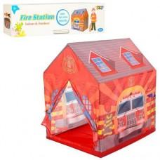 """Детская каркасная палатка """"Пожарная станция"""" для комнаты (Вход - на завязках, 3 окна), размер 102-95-75 см арт. 5686"""