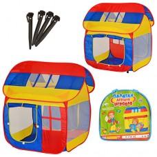 Детская Палатка-домик 2 входа с занавеской, 3 окна-сетки, с сумкой для хранения, 110х92х114 см, арт.905 (0508)