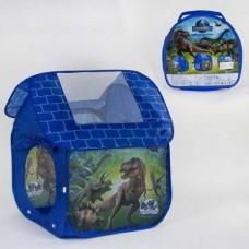 Детская Игровая Палатка Динозавры для детей, для дома и улицы, вход накидка на завязках, размер 112х102х114 см