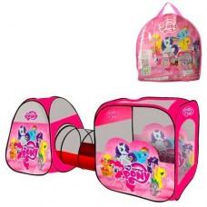 Детская Игровая Палатка Двойная с тоннелем Пони для дома и улицы, 2 входа, окна - сетка, 234х92х73 см арт. 3774