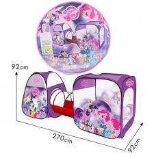 Детская Игровая Палатка Двойная с тоннелем Пони для дома и улицы, 2 входа, окна - сетка, 270х92х92 см, арт. 3777