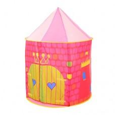 Детская Игровая Палатка Замок для дома и улицы, вход на завязках, 1 окно, 80х105х80 см, розовая арт. 3754