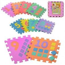 Детский Игровой Массажный Коврик Мозаика Цифры и фигурки, 10 деталей, размер детали 30х30 см, арт. 0375