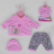 Кукольная одежда для пупсов высотой до 42см - розовая кофточка, штанишки и розовая шапочках, вешалка в комплекте
