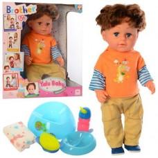 Кукла-малыш Функциональный Старший брат в оранжевом худи и штанишках: шарнирные колени, пьет, писает, плачет