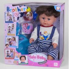 Кукла-малыш Функциональный Старший брат в футболке и комбинезоне: шарнирные колени, пьет, писает, плачет