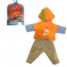 Кукольная одежда для пупсов высотой до 42см: штанишки, худи с длинным рукавом и капюшоном, вешалка в комплекте