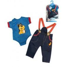 Кукольная одежда для пупсов высотой до 42см - синий боди с короткими рукавами, джинсы на подтяжках, вешалка