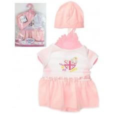 Кукольная одежда для пупсов высотой до 42см: бело-розовое платье с пышной юбкой, шапочка, вешалка в комплекте
