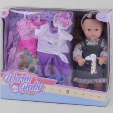 Набор Пупс Малышка с темными волосами с 4 комплектами нарядов, обувью и аксессуарами, закрывает глазки, 39см