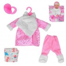 Кукольная одежда для пупсов высотой до 42см - стеганая куртка с меховым воротничком, соска, памперс, вешалка