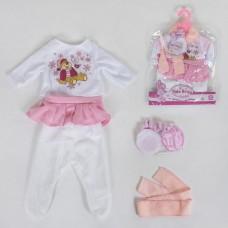 Кукольная одежда для пупсов высотой до 42см: белый ползунки, футболка с длинным рукавом, вешалка в комплекте