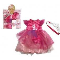 Кукольная одежда для пупсов высотой до 42см - малиновое платье с короной, соской, памперсом, вешалка в комплекте