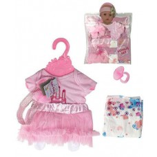 Кукольная одежда для пупсов высотой до 42см - розовое пышное платье с соской, памперсом, вешалка в комплекте