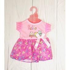 Кукольная одежда для пупсов высотой до 42см: розовое платье с коротким рукавом и принтом, вешалка в комплекте