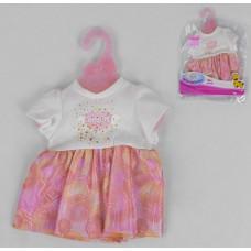 Кукольная одежда для пупсов высотой до 42см: бело-розовое платье с коротким рукавом, вешалка в комплекте