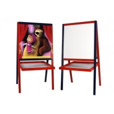 *Детский деревянный двухсторонний мольберт с картинкой Маша и Медведь и полочкой, высота 100 см арт. 052 43802-06 lvt-052