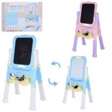 Двухсторонний Мольберт для детей - меловая и магнитная сторона, маркеры, мелки, губка, розовый 50х40х107 см