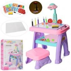 Игровой Столик для рисования 3в1: Мольберт, проектор со слайдами, стульчик 19х19х12см, магнитные буквы и цифры
