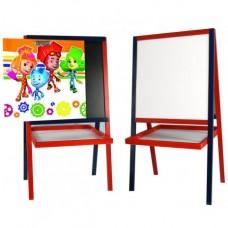 """*Детский деревянный двухсторонний мольберт с картинкой """"Фиксики"""" и полочкой, высота 100 см арт. 057"""