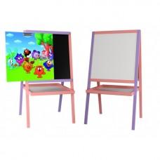 """*Детский деревянный двухсторонний мольберт с картинкой """"Смешарики"""" и полочкой, высота 100 см арт. 058"""