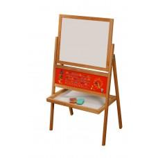 """*Детский деревянный двухсторонний мольберт """"Школьный"""" с полочкой и алфавитом для деток от 3 до 7 лет арт. 048"""