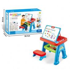 Игровой Столик для рисования 3в1: Мольберт, проектор со слайдами, стульчик, магнитные буквы и цифры 40х31х60см