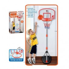Баскетбольное металлическое кольцо на стойке с сеткой, регулируемой высотой и мячом для  улицы и дома арт. 6041 44341-06 lvt-6041