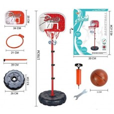Детская Баскетбольная регулируемая Стойка со щитком и металлическим кольцом D=21см, мяч, насос - высота до 170см
